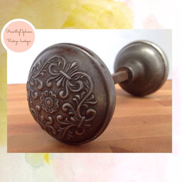 Vintage Door Knob Pair Ornate Floral Steel / Antique Door / Knob Vintage Decor / Vintage Supplies