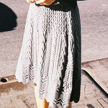 STRETCH CABLE KNIT SKIRT