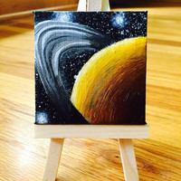 Miniature Saturn Planet Painting Acrylic on Canvas