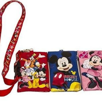 3 DISNEY MICKEY,MINNIE, FRIEND LANYARDS W/ DETACHABLE COIN POUCH/WALLETS/PURSES