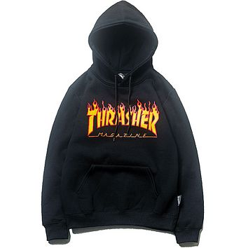 Thrasher Autumn And Winter New Fashion Bust Flame Print Women Men Hooded Long Sleeve Top Sweater Black