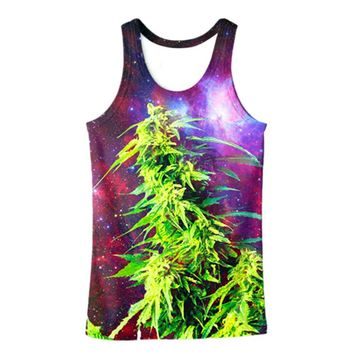 Vest Purple Galaxy Space Hemp Weed Leaf  3D Print Men Tank Top  Tanktop Sleeveless Shirt