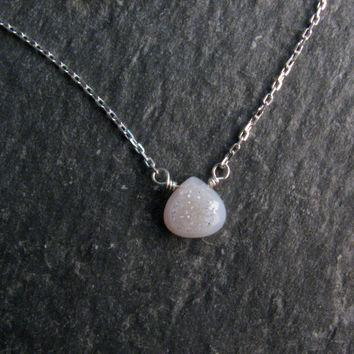 White Agate Druzy Necklace in Sterling Silver - Delicate Chain Pendant Necklace - Layering Necklace - Modern Romance