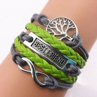 Bestfriend bracelet,Tree life bracelet,hope Bracelet,green leather,Couples bracelet,lover bracelet,leather bracelet,fashion hipsters jewelry,braided bracelet,simple bracelet