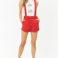 Belted Denim Overall Shorts
