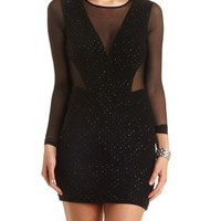 Mesh & Glitter Cut-Out Bodycon Dress by Charlotte Russe - Black