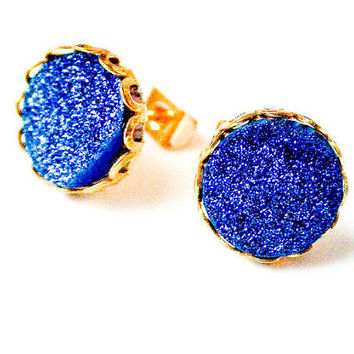 Boho Earrings - Sparkling Moon - Blue Raw Druzy Round Gemstone Stud Earrings - Post, Jewelry, Hippie, Hipster, Bridesmaids Gift