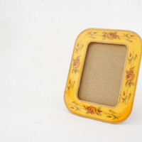Small Vintage Enameled Cloisonne Picture Frame - Bucklers Yellow, Floral, 60s, 70s, Wood, Marbled, Enamel Frame, Rose Roses sixties