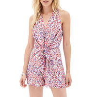 LOVE 21 Floral V-Neck Halter Romper Ivory/Purple