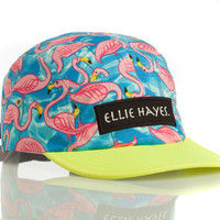 Bright Flamingo 5 Panel Hat by EllieHayesCaps on Etsy