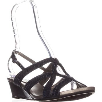 Bandolino Gomeisa Slingback Wedge Sandals, Navy, 6.5 US