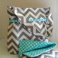 Large Diaper Bag Set Made of Chevron and Turquoise - Adjustable Strap