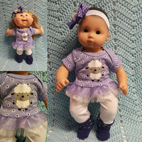 "15 inch Baby Doll Clothes ""Little Lambie"" doll outfit Will fit Bitty Baby® Bitty Twins®  dress leggings socks headband"