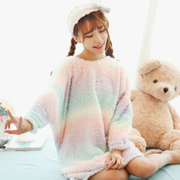 FREE SHIP Rainbow Ice Cream Velvet Sleeping Dress PA99970