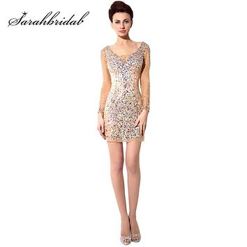 2018 Hot Sexy Sparkling Long Sleeve Cocktail Dresses Tulle Straight V-Neck Dress Short Mini Women Party Beading Prom Gowns