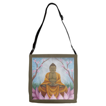 Buddha - Adjustable Strap Tote of Acrylic Paint and Watercolor Pencil Fine Art