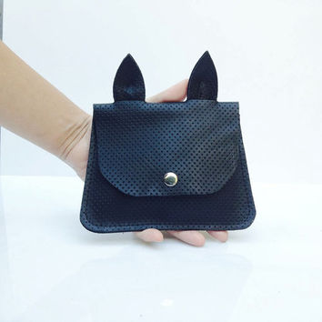 Black leather clutch wallet - Wristlet wallet - Credit card holder - Leather Coin purse - cat wallet - Valentines day gift