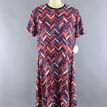 Vintage 1960s Stroller Dress / Red White & Blue Chevron Print