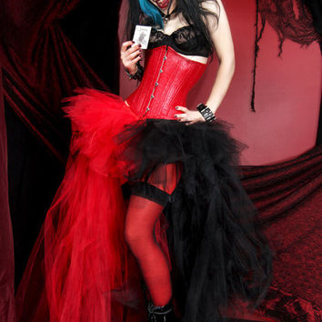Harley Quinn Red Black Split Trashy Formal Bustle TuTu Adult All Sizes MTCoffinz