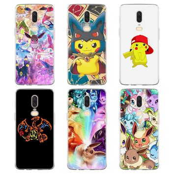 Silicone Case for Oneplus 5T cartoon pokemons eevee pika Soft TPU Silicone clear Phone Case for Oneplus 5T 6 Silicone Cover