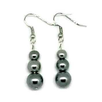 Gray Triple Beaded Glass Pearl Earrings