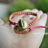 Vintage Gold Style Heart and Pink Leather Bracelet