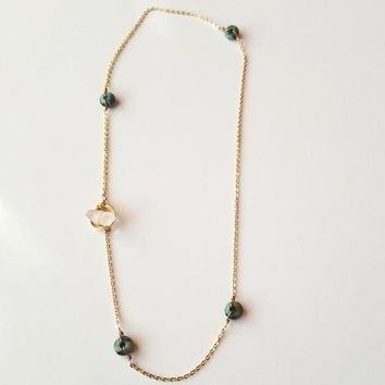 Thrive African Turquoise and Quartz Toggle Necklace