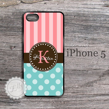 Pink stripes iphone 5 case monogrammed blue tiffany blue polka dots cover