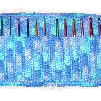 Handmade Crocheted Crochet Hook Organizer, 12 Pocket, Blue Variegated