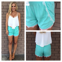 Bahama Blue Lace Trim Tulip Shorts