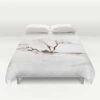 Scots Pine Sepia Duvet Cover by Gréta Thórsdóttir  #gotland #BalticSea #waterfront #black #white #tree #mist #bedroom