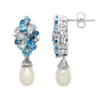 Lord & Taylor Sterling Silver Freshwater Pearl and Blue Topaz Drop Earrings
