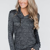 All This Time Zipper Pullover Top- Heather Black