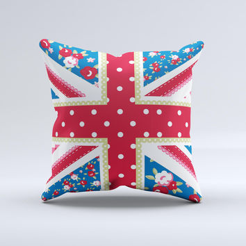 Fun Styled Vector London England Flag Ink-Fuzed Decorative Throw Pillow