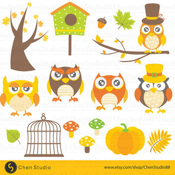 Autumn Owl vector - Digital Clipart - Instant Download - EPS, PNG files included