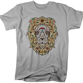 Lion Sugar Skull T-Shirt Artistic King Jungle Large Cat Shirts Hipster Tee