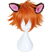 RightOn New-Arrival Cool Boy Men's Original Design Fox Nick Cosplay Costume Party Short Layered Wig With Free Wig Cap and Comb (Orange Brown-Ears Not Include)