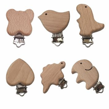 5 piece Cartoon Wooden Pacifier Clips Beech Wood Clip Baby Pacifier Chain Holder For Teething Toys Making