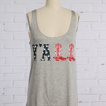 Y'all Tank - Patriotic/Heather Gray