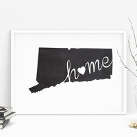Connecticut Wall Art Chalkboard Home Printable Poster