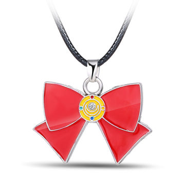 sailor moon chain necklace bowknot Necklace Metal Charm Pendant Cosplay Accessories Jewelry best friends Gift YS10958