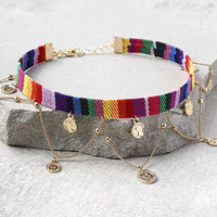 Ettika Crowd Surf Gold and Rainbow Choker Necklace