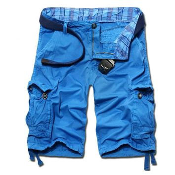 Men's Casual Solid Beach Cargo Shorts