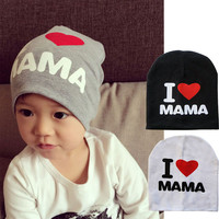 Baby Knitted Warm Cotton Beanie Hat For Toddler I LOVE PAPA MAMA Print Baby Hats
