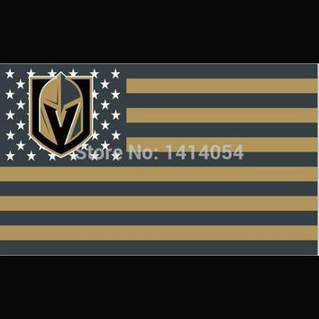 VEGAS GOLDEN KNIGHTS  Stars and Stripes Flag  3X5FT Banner 100D Polyester grommets custom flag,free shipping