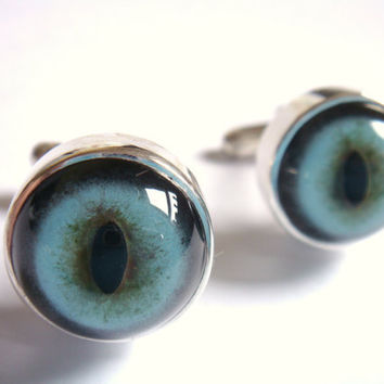 cool gifts for men - MONSTER CUFF LINKS - taxidermist glass eyes, groom, best man wedding gifts, anniversary, birthday etc, silver and blue
