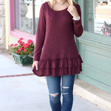 Basic Ruffle Knit Sweater Tunic {Burgundy}