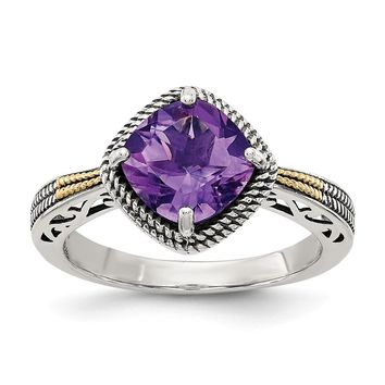 Two Tone Sterling Silver and 14k Antiqued Gold Amethyst Ring Size 7