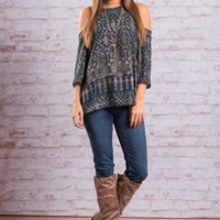 In Your Closet Blouse, Navy