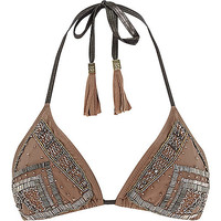River Island Womens Nude Pacha embellished triangle bikini top